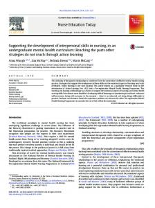 Supporting the development of interpersonal skills in nursing, in an ...