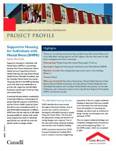 Supportive Housing for Individuals with Mental Illness (SHIMI) - SCHL