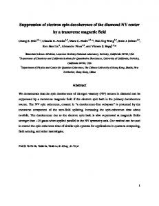 Suppression of electron spin decoherence of the diamond NV ... - arXiv