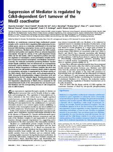 Suppression of Mediator is regulated by Cdk8-dependent Grr1 ... - PNAS