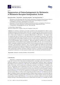 Suppression of Osteoclastogenesis by Melatonin ... - Semantic Scholar