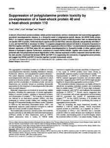 Suppression of polyglutamine protein toxicity by co ... - BioMedSearch