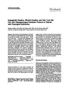 Supraglottic Swallow, Effortful Swallow, and Chin Tuck Did Not Alter ...