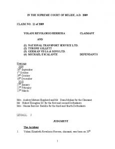 Supreme Court Claim No. 11 of 2009 - Belize Law