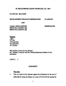 Supreme Court Claim No 202 of 2010 - Belize Law