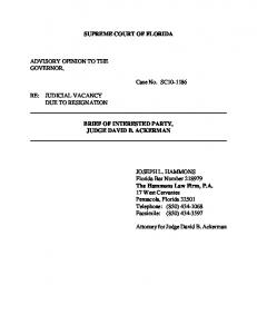 SUPREME COURT OF FLORIDA ADVISORY OPINION TO THE ...