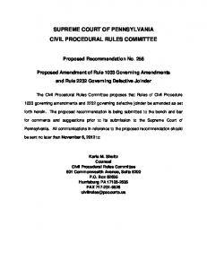 SUPREME COURT OF PENNSYLVANIA CIVIL PROCEDURAL ...