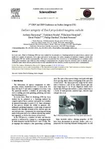 Surface Integrity of Fluid Jet Polished Tungsten Carbide - Core