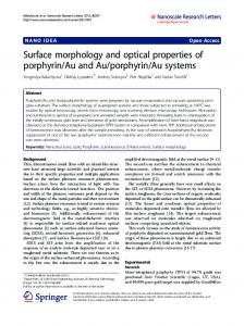 Surface morphology and optical properties of