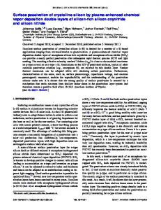 Surface passivation of crystalline silicon by plasma ... - AIP Publishing