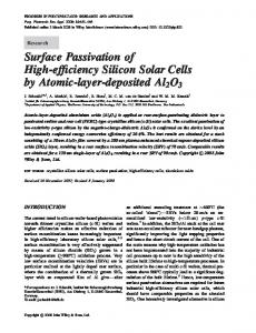 Surface passivation of high-efficiency silicon solar cells by ... - CiteSeerX
