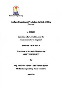 Surface roughness prediction in end-milling process