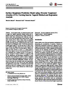 Surface Roughness Prediction Model using Zirconia ...