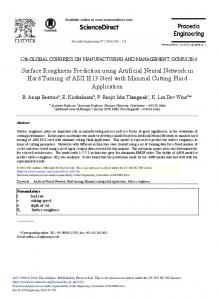 Surface Roughness Prediction using Artificial Neural Network in Hard ...