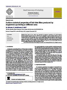 Surface statistical properties of ZnO thin films ...