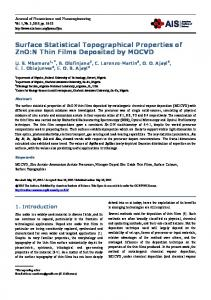 Surface Statistical Topographical Properties of ZnO:N Thin Films ...