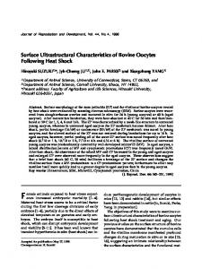 Surface Ultrastructural Characteristics of Bovine Oocytes Following ...