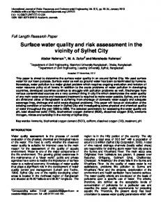Surface water quality and risk assessment in the ... - Academic Journals
