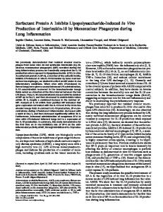 Surfactant Protein A Inhibits Lipopolysaccharide ... - ATS Journals