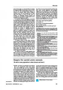 Surgery for carotid artery stenosis - ProQuest Search