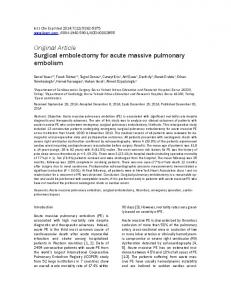 Surgical embolectomy for acute massive pulmonary embolism