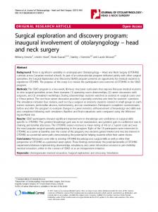 Surgical exploration and discovery program: inaugural involvement of ...