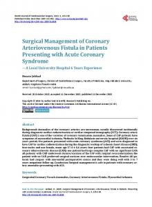 Surgical Management of Coronary Arteriovenous Fistula in Patients ...