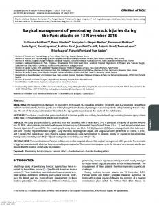 Surgical management of penetrating thoracic injuries ...