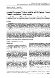 Surgical Outcomes of Patients with Stage IA2 Cervical Cancer Treated ...