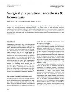 Surgical preparation: anesthesia & hemostasis - Wiley Online Library
