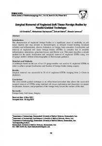 Surgical Removal of Neglected Soft Tissue Foreign Bodies by Needle ...