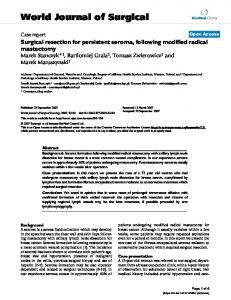 Surgical Resection and Scarification for Chronic Seroma Post