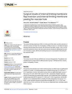 Surgical results of internal limiting membrane flap inversion and ... - Plos
