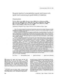 Surgical results of intramedullary spinal cord tumor with spinal cord