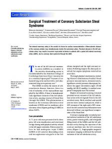 Surgical Treatment of Coronary Subclavian Steal ... - Semantic Scholar