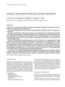 surgical treatment of popliteal artery aneurysms
