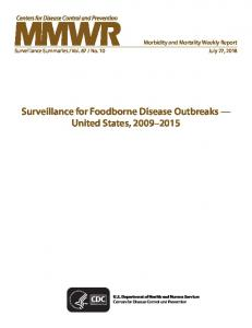 Surveillance for Foodborne Disease Outbreaks - CDC