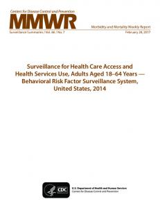 Surveillance for Health Care Access and Health Services Use, Adults ...