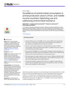 Surveillance of antimicrobial consumption in animal ... - PLOS