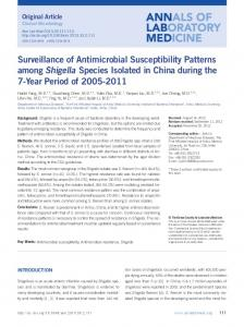 Surveillance of Antimicrobial Susceptibility Patterns among Shigella ...