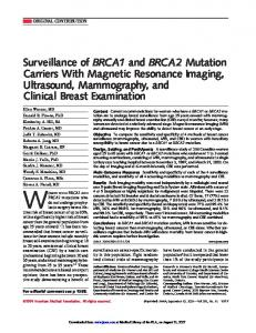 Surveillance of BRCA1 and BRCA2 Mutation ... - Semantic Scholar