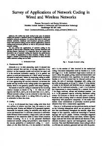Survey of Applications of Network Coding in Wired and Wireless ...