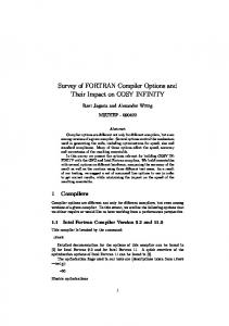 Survey of FORTRAN Compiler Options and Their Impact on COSY ...