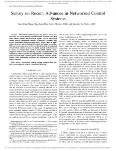 Survey on Recent Advances in Networked Control ... - IEEE Xplore