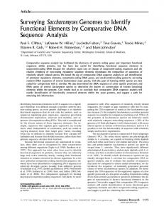 Surveying Saccharomyces Genomes to Identify Functional Elements ...
