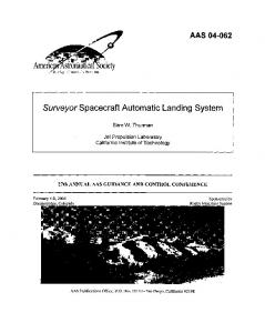 Surveyor Spacecraft Automatic Landing System - CiteSeerX