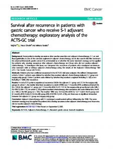 Survival after recurrence in patients with gastric cancer ... - BMC Cancer