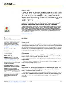Survival and nutritional status of children with severe acute ... - PLOS