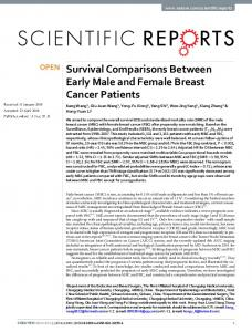 Survival Comparisons Between Early Male and Female Breast Cancer ...
