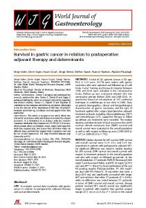 Survival in gastric cancer in relation to postoperative adjuvant therapy ...